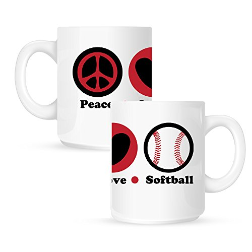 Insomniac Arts - Peace Love and Softball - 15 Ounce Coffee Mug