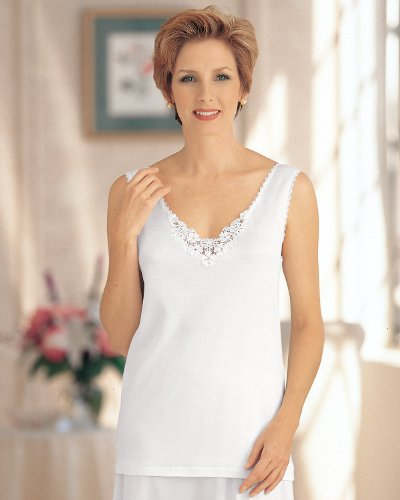 Cuddl Duds Medallion Lace Camisole, White, 2X - Misses, Womens