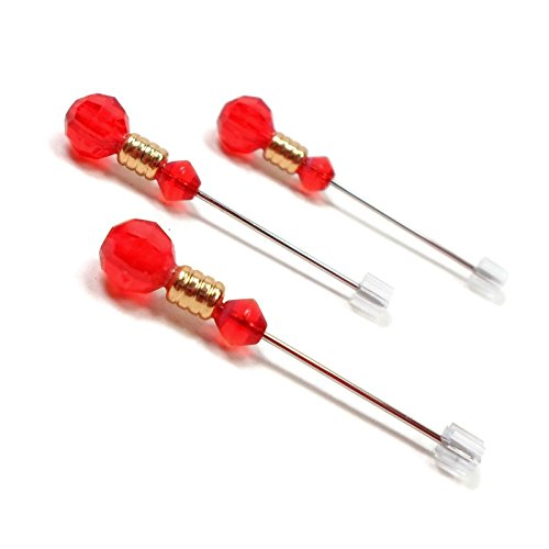(Red and Gold Handmade Beaded Counting Pins, Marking Needles for Cross Stitch and Needlepoint)