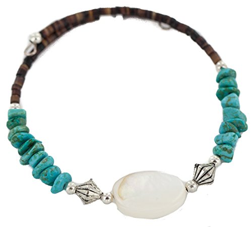 $80 Tag Heart Authentic Navajo Natural Turquoise Mother of Pearl Heishi Native American Wrap Bracelet (Pearl American Bracelet Pearl)