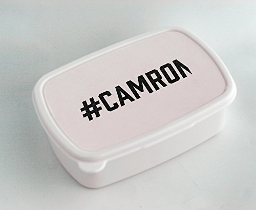 White lunch box with #CAMRON