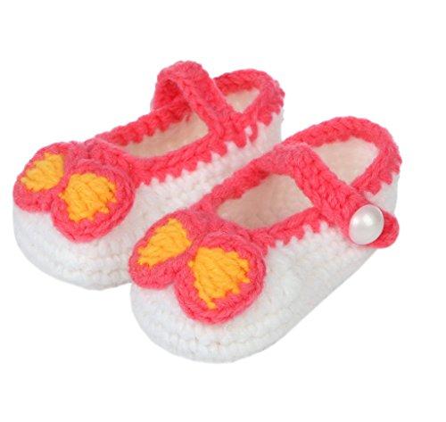 Smile YKK 1 Paar One Size Strick Schuh Baby Unisex süße Muster Strickschuh 11cm Schleife Pink Weiss