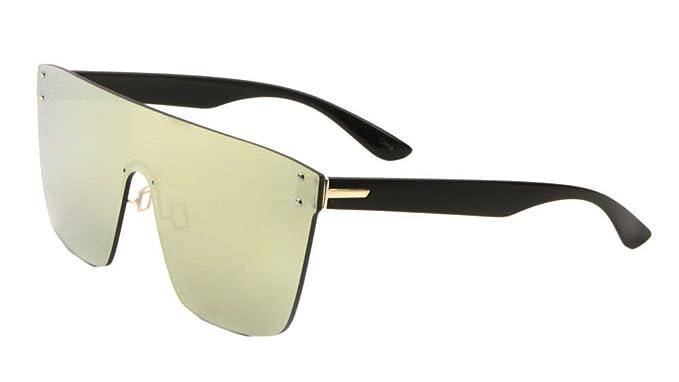 bfffc4acb68 Amazon.com  Flat Top Oversized Rimless One Piece Shield Sunglasses (Black    Gold Frame