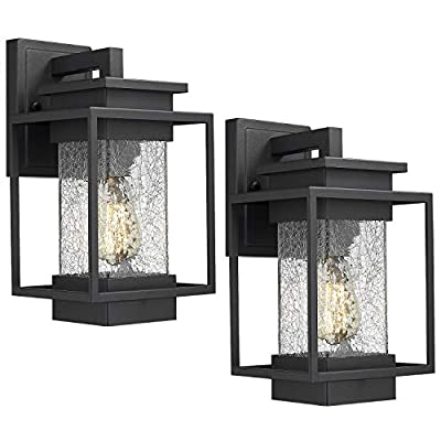 Osimir Outdoor Wall Sconce Light Fixture, 1 Light Exterior Wall Lantern in Black Finish with Crackle Glass Lamp Shade, Modern Outdoor Lighting Fixtures 2365-1W-2PK - HIGH QUALITY OUTDOOR WALL MOUNT LIGHT: Made of sturdy metal construction in black finish, crackle glass lamp shade. Can be easily to match with other decoration style. Ideal for porch, patio, garden, corridor, balconies, terraces, garage door, villa, open field, entryway. WATERPROOF, WEATHER RESISTANT AND RUST RESISTANT: This outdoor wall sconce is ideal for residential or commercial use, able to protect against harsh weather conditions. HARD WIRED: Requires 1x E26 base, A60/ST58/G45 type bulb (Max 60W), Bulb NOT included.Compatible with LED bulb, Incandescent or CFL bulb. - patio, outdoor-lights, outdoor-decor - 4170rp33E5L. SS400  -