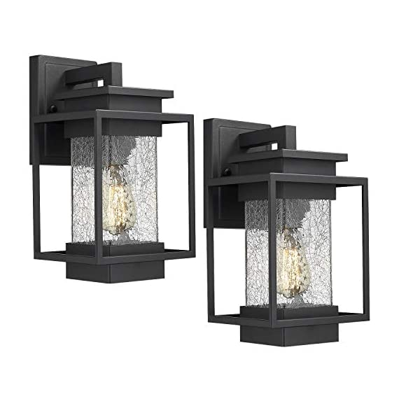 Osimir Outdoor Wall Sconce Light Fixture, 1 Light Exterior Wall Lantern in Black Finish with Crackle Glass Lamp Shade, Modern Outdoor Lighting Fixtures 2365-1W-2PK - HIGH QUALITY OUTDOOR WALL MOUNT LIGHT: Made of sturdy metal construction in black finish, crackle glass lamp shade. Can be easily to match with other decoration style. Ideal for porch, patio, garden, corridor, balconies, terraces, garage door, villa, open field, entryway. WATERPROOF, WEATHER RESISTANT AND RUST RESISTANT: This outdoor wall sconce is ideal for residential or commercial use, able to protect against harsh weather conditions. HARD WIRED: Requires 1x E26 base, A60/ST58/G45 type bulb (Max 60W), Bulb NOT included.Compatible with LED bulb, Incandescent or CFL bulb. - patio, outdoor-lights, outdoor-decor - 4170rp33E5L. SS570  -