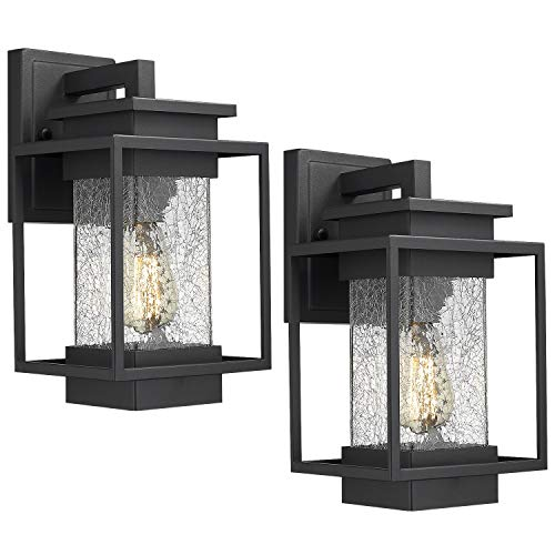 Osimir Outdoor Wall Sconce Light Fixture, 1 Light Exterior Wall Lantern in Black Finish with Crackle Glass Lamp Shade, Modern Outdoor Lighting Fixtures 2365-1W-2PK (Outdoor Fixtures Lighting Sconce)