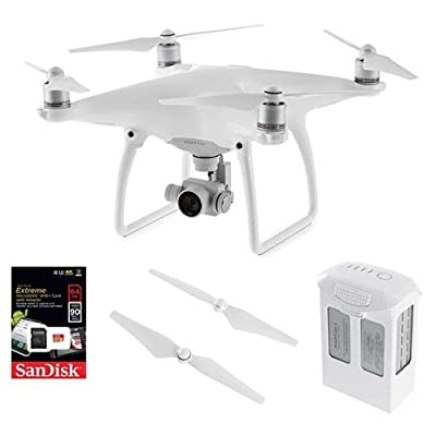 DJI Phantom 4 Quadcopter Aircraft - Bundle with DJI 100W 5350mAh Intelligent Flight Battery, Quick-Release Propellers, 64GB Class 10 U3 microSDHC UHS-I Card