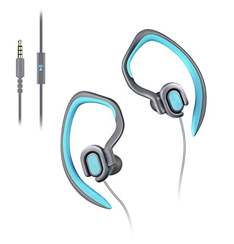 Mucro Sports Earhook Headphones Sweatproof in Ear Headphone Workout Earphone 3.5mm Jack Wired Stereo Headset with Microphone for Gym Running Jogging Hiking Cycling (Blue)