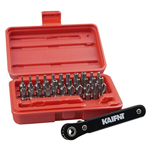 KAIFNT K401 Tamper-Proof Security Bit Set with Mini Ratchet Wrench, 1/4-Inch Drive, 34-Piece
