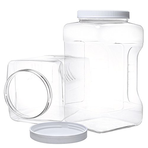 2 Pack Gallon Jars with Lids - Large Empty Plastic Storage C