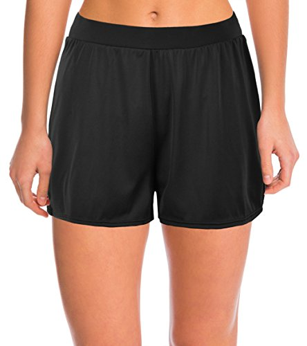 Septangle Women's Solid Color Waistband Tankini Boyleg Swimsuit Bottom Boardshorts with Briefs … (US 18, Black) by Septangle (Image #6)