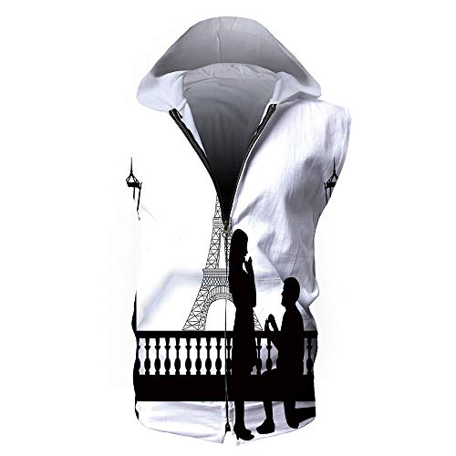 Men's Waistcoat Hoodie Sleeveless, Engagement Party Decorations,Paris Lovers Cit -