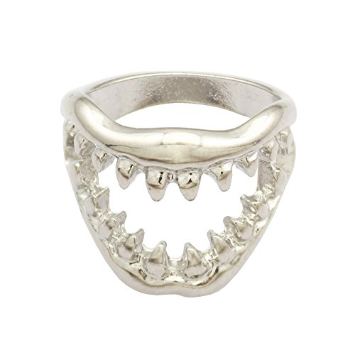 Chic Shark Tooth Skull Hell Demon Mouth Goth Emo Punk Fancy Dress Finger Ring, Size US 4.5/UK 1.5 -