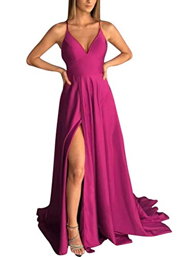 RJOAM Women's Criss Cross Back Satin Prom Party Gown