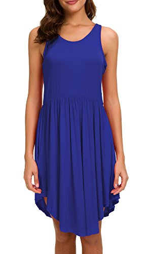 Women's Sleeveless Racerback Elastic Waist Band Pleated Flowy Curved Hem T-Shirt Dress, Royal Blue, ()