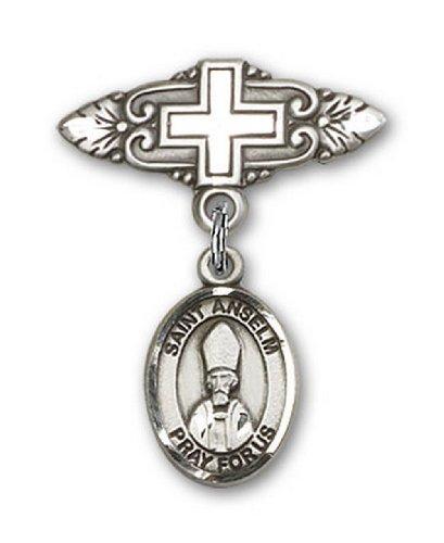 Icecarats Créatrice De Bijoux En Argent Sterling St. Anselme De Cantorbéry Broche De Badge Charme Avec Une Croix X 3/4