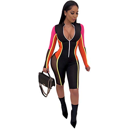 Katblink Womens Color Block Romper - Sexy Patchwork Mesh Long Sleeve One Piece Zipper Bodycon Jumpsuits Orange M