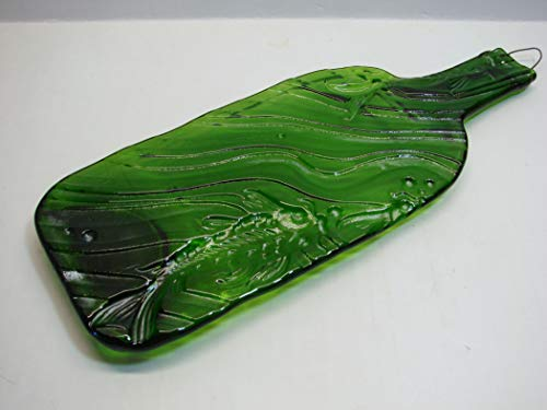 (Embossed Koi Design UpCycled Melted Flat Moss Green Wine Bottle Recycled Cheese Tray Platter)