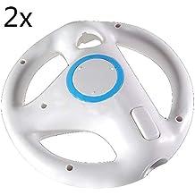 2pcs White Mario Kart Steering Wheel for Nintendo Wii