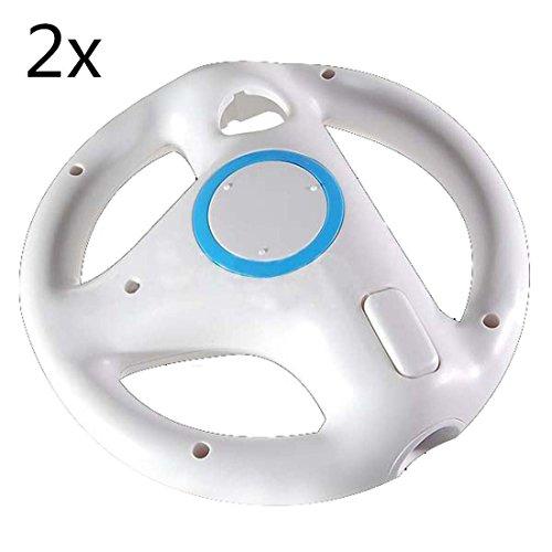Amazon.com: 2pcs White Mario Kart Steering Wheel for Nintendo Wii ...