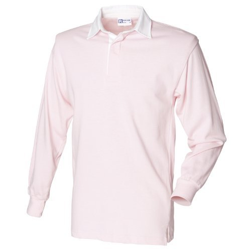 Cotton Long Sleeve Rugby Shirt - Front Row Long sleeve plain rugby shirt Light Pink/ White M