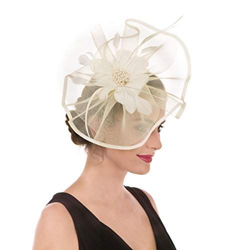 - SAFERIN Fascinator Hat Feather Mesh Net Veil Wedding Tea Party Hat Flower Hat with Clip and Hairband for Women and Girl (TA1-Beige)