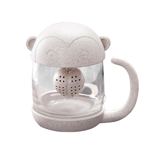 YJYDADA Cute Cat Little Monkey Glass Cup Filter Cup With Rem