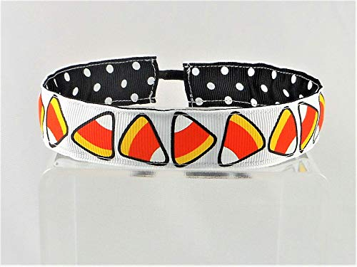 Halloween Candy Corn Ribbon Stretch Reversible Sports Elastic Headband Black with White Dots -