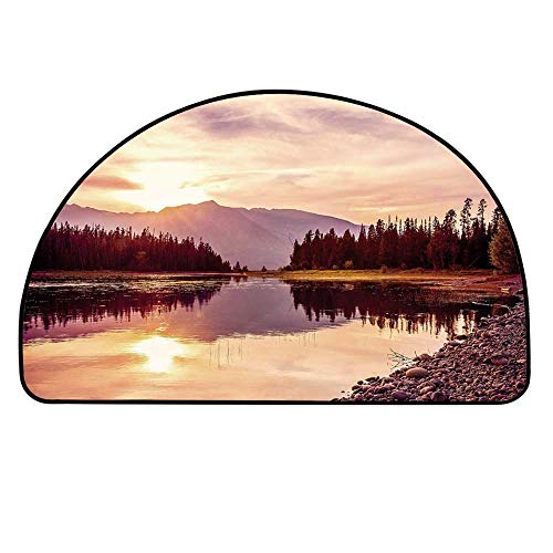 YOLIYANA Landscape Semi Circle Mat,Grand Teton Mountain Range at Sunset Jackson Lake Calm National Park USA Decorative Carpet Indoor Mat,31.4