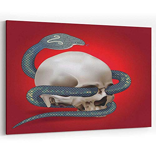(Human Skull Entwined by Snake Canvas Art Wall Dector for Home Decor Stretched-Framed Ready to Hang)