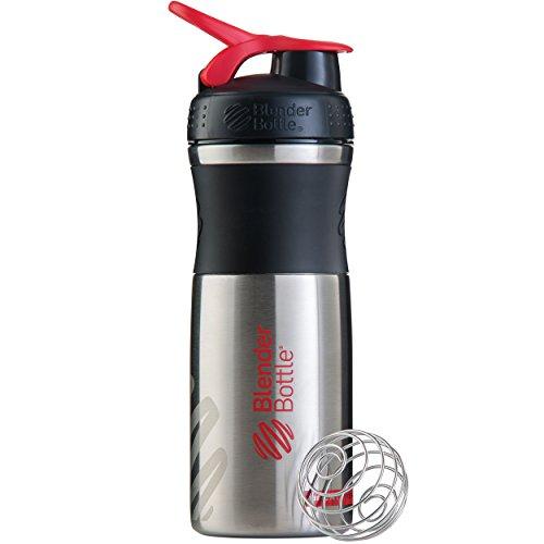 (BlenderBottle SportMixer Stainless Steel Shaker Bottle, 28-ounce, Black/Red)