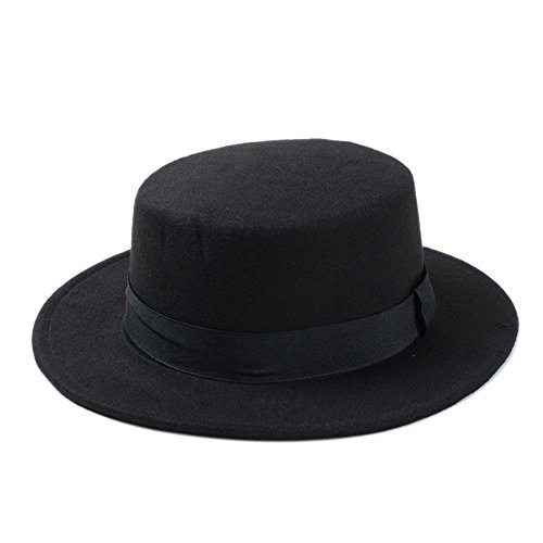 Yaojiaju Wool Boater Flat Top Hat For Women's Felt Wide Brim Fedora Hat Laday Prok Pie Chapeu de Feltro Bowler Gambler Top Hat ( Color : Black , Size : 58cm ) (Felt Hat Womens Gambler)