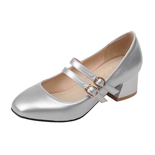 Amoonyfashion Femmes Boucle En Cuir Verni Carré Fermé Orteils Chaton-talons Chaussures Solides-chaussures Argent