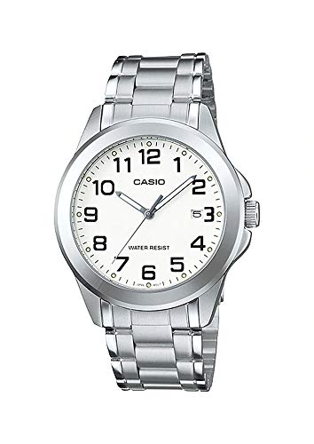 Casio MTP1215A-7B2 Men's Enticer Stainless Steel Easy Reader White Dial Date Analog Watch