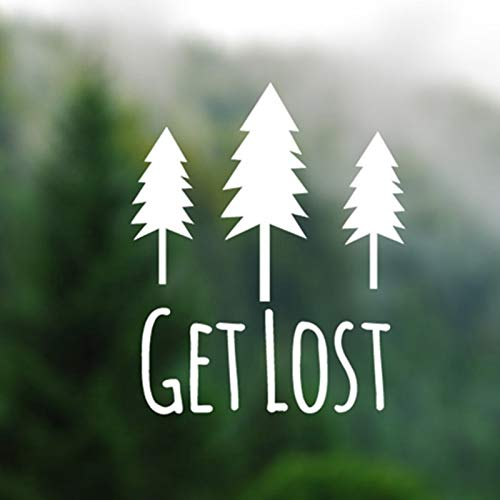 LXDWS Get Lost - Pine Trees Silhouette Vinyl Decal Sticker Computers Laptops Wallpapers Adventure Nature Car Decals Vinyl Stickers (Best Nature Wallpapers For Laptop)