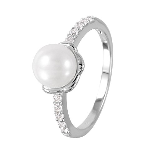 Simulated Faux Pearl Clear Cubic Zirconia Accent Ring Rhodium Plated Sterling Silver Size 5 ()