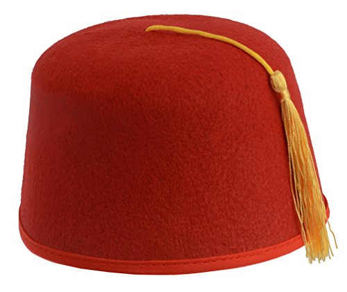 Kangaroo Red Fez Felt Hat w/ Gold Tassel (Halloween Costumes Dr Who)
