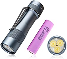 Led High Lumens rechageable EDC Flashlight torch - Lumintop FW3A super Bright 2800LM with 3 Cree XPL LED, UI Turbo for...