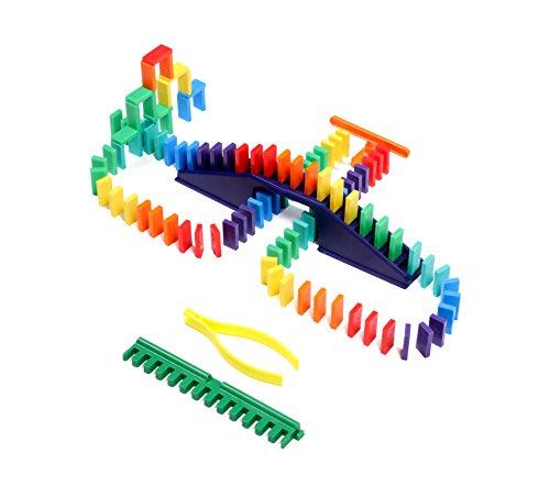 Bulk Dominoes 104pcs Mini Dominoes, Ultimate Stacking & Toppling Kit. Chain Reaction STEAM Toy Building Set.