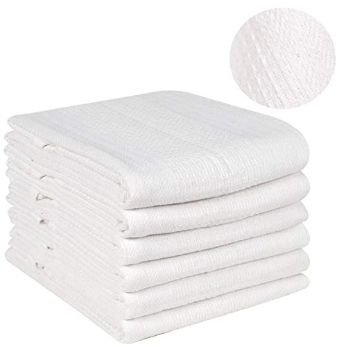 - Ramanta Home Kitchen Towel- Honeycomb Waffle (6 Pack 18x28 White) Quick Dry, Tea Towels, Bar Towels, Highly Absorbent, Cleaning Towels, Kitchen Tea Towels, 100% Pure Cotton, Absorbent Waffle Weave