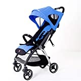 Baby Stroller, Lightweight Folding Portable Stroller 3 Seconds Folding Built-in Shock Absorber with 5-Point Safety Harness Multi-Position Reclining Seat Large Storage Basket,A