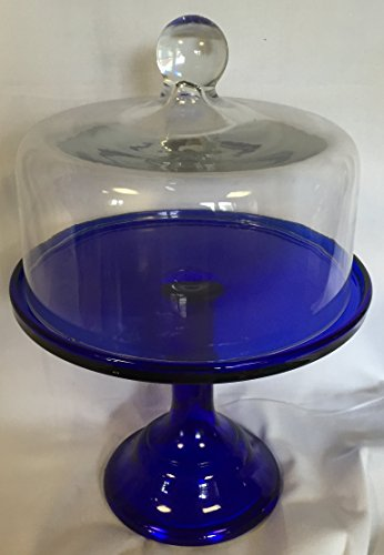 (Cobalt Blue Glass Plain & Simple Bakery Cake Plate Stand w/ Dome - Mosser USA - 9