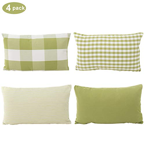 (TEALP Buffalo Plaid Pillow Cover Plaid Check Gingham Pattern Throw Pillow Covers 12 x 20 in Cushions for Sofa, Grass Green and White,4 Pack)