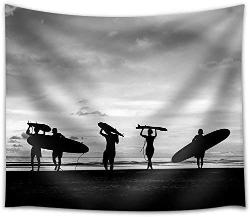 wall26 – Silhouette of Surfer People Carrying Their Surfboard on Sunset Beach, Black and White Color – Fabric Wall Tapestry Home Decor – 68×80 inches