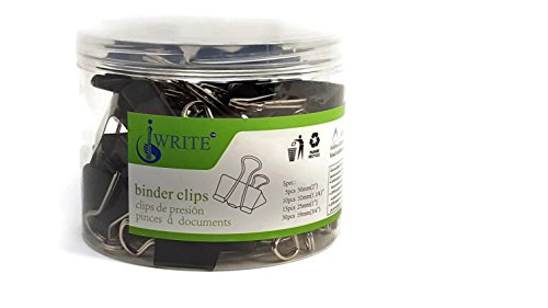- iWRITE 60 pcs Heavy Duty Binder Clips Paper Banker's Clips Fold over Clips Clamps Assorted Sizes (Black) Binder Clips for Notes Letter Paper and Office (5 Extra Large, 10 Large, 15 Medium, 30 Small)