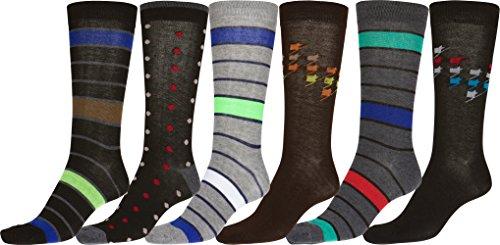 Contemporary Dress Patterns (Sakkas 70501G3 - Men's Crew High Patterned Colorful Design Dress Socks Asst Value 6-Pack - Dots and Stripes-2 - 10-13)