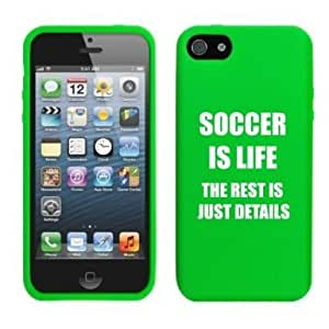 Apple iPhone 4 4s Silicone Soft Rubber Skin Case Cover Soccer Is Life (Green)