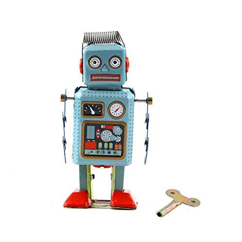 Tin Metal Vintage Mechanical Clockwork Wind-up Walking MS294 Robot Toy Kids Gift Collection ()