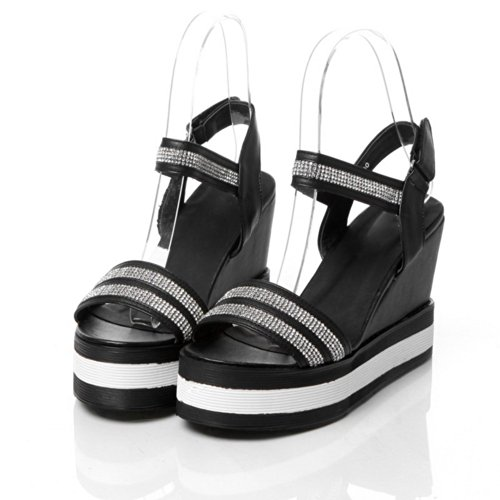 VogueZone009 Womens Open Toe High Heel Platform Wedges PU Soft Material Solid Sandals with Glass Diamond, Black, 4.5 UK