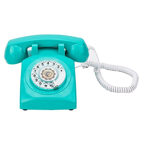 1960's Style Rotary Dial Old Fashioned Retro Classic Vintage Corded Telephone Landline for Home and Office Decor,Light Blue